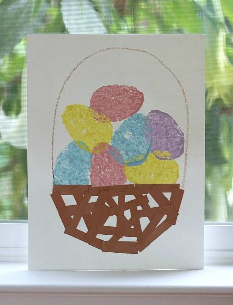 Fun Easter Craft for Toddlers! Easter Crafts for Kids: Sponge Painted Easter Eggs & Basket