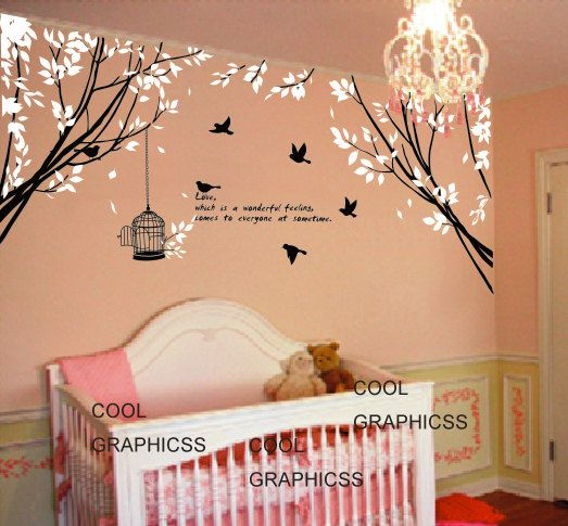 branch wall decal nursery wall decal bedroom decal children wall decal - Two Branch Corner with Flying Birds and Quote on Etsy, $65.00