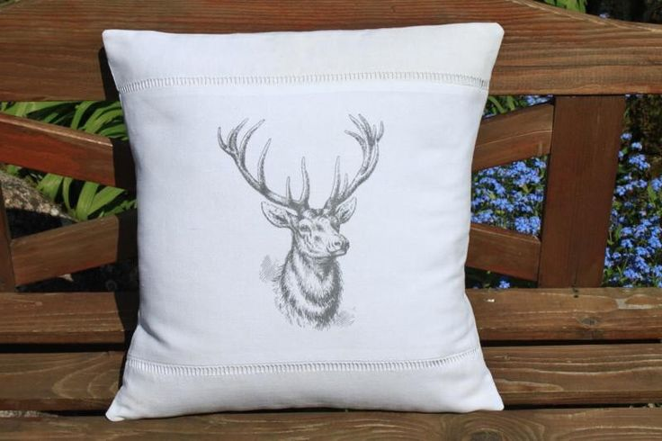 Vintage French Linen Stag Deer Head Cushion Pillow Cover by BurgundyDelights on Etsy https://www.etsy.com/listing/108628867/vintage-french-linen-stag-deer-head