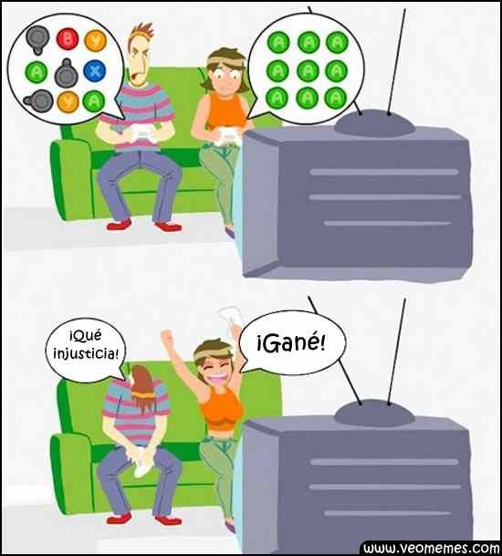 Cuando juegas con tu novia a algún juego de lucha...