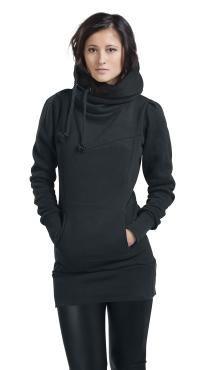 """""""Smart Hoodie""""  ¿Cómo es que un jersey con capucha negro tiene el nombre de """"Smart Hoodie""""? Fácil, con sus 80 cms de largo y su cintura extra ancha no se subirá por encima del trasero cada 30 segundos, con los cordones laterales de la capucha y sus dos bolsillos insertados mantendrás tu cuello y tus manos bien calientes."""