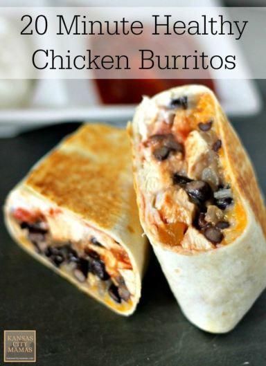 20 Minute Healthy Chicken Burrito Recipe   easy dinner