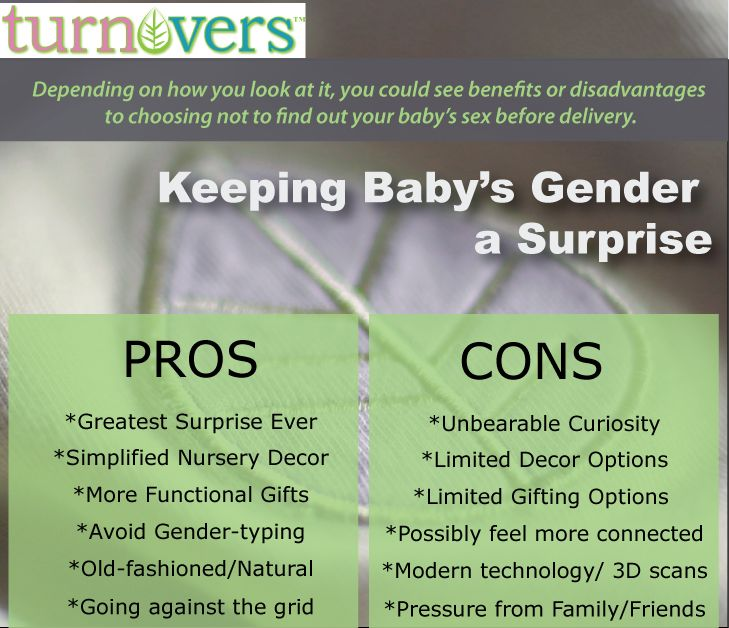 "Pros and Cons of NOT FINDING OUT, from our ""Resourceful Guide to a Gender Reveal"" Click to read: http://turnoversbaby.wordpress.com  #Teamgreen #Surprise #Baby #GenderReveal"