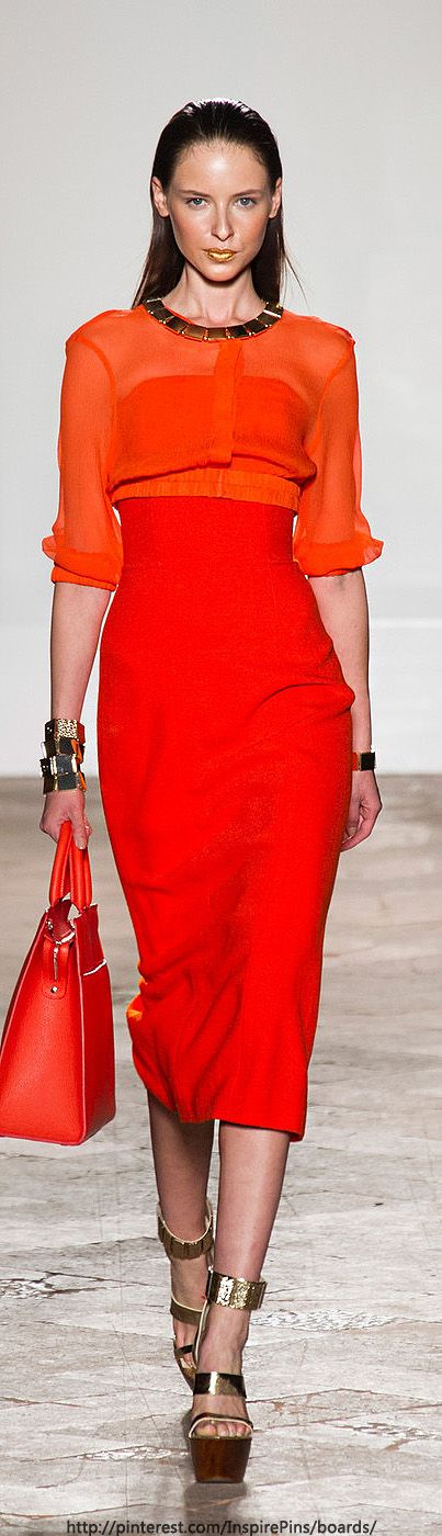 ❤️ the mix of Gold and Orange...I am inspired - Milan Spring 2014 - Aigner | The House of Beccaria