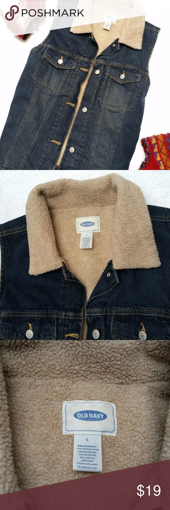 Old Navy Sherpa Lined Denim Vest Large Just in time for fall, this Old Navy sherpa lined denim vest is ready to keep you cozy. Size Large. 22 inches across the bust. 24 inches long shoulder to hemline. Old Navy Jackets & Coats Vests