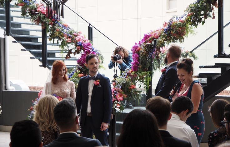 Jai from Free the Bird in action in the florals   How stunning are the florals by grown flowers at The Art Series Hotel The Olsen for Eddie and Cindy's ceremony