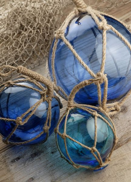 Glass Floats with Rope Lanyards