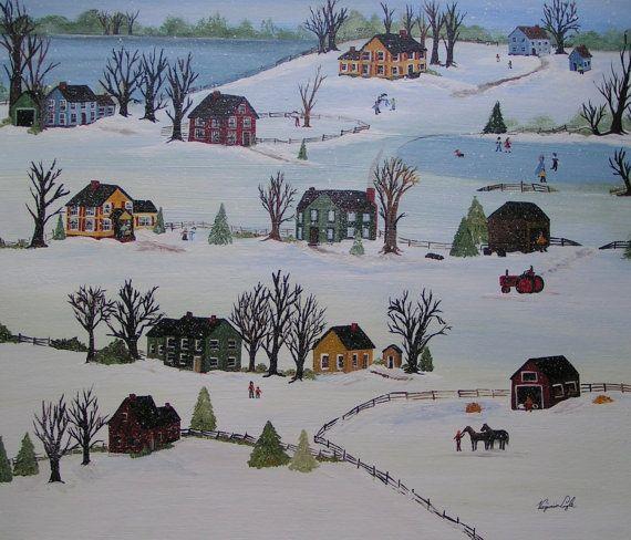 Snow Day   Folk art painting  Grandma Moses style