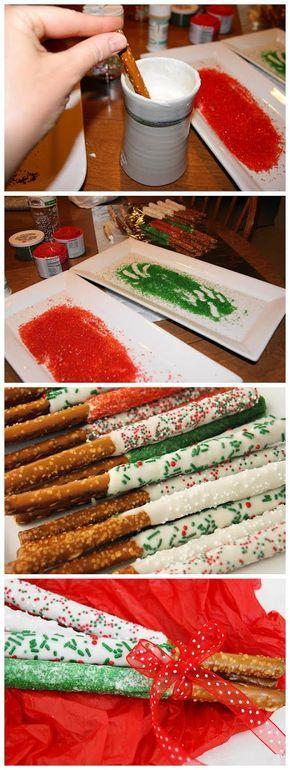 Christmas White Chocolate-Dipped Pretzel Rods