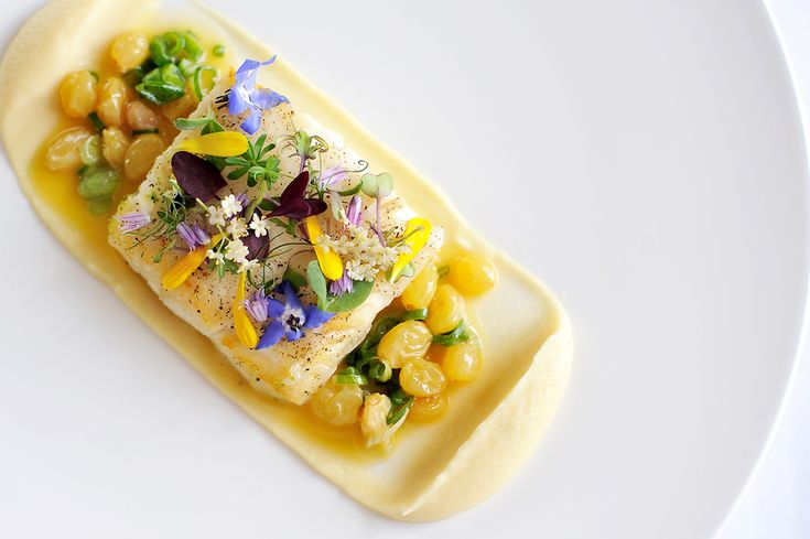 Roasted Fillet of Halibut Glazed with Lardo,  Parsnip Puree and a Verjus and Spring Onion Butter Sauce recipe by professional chef Simon Hulstone