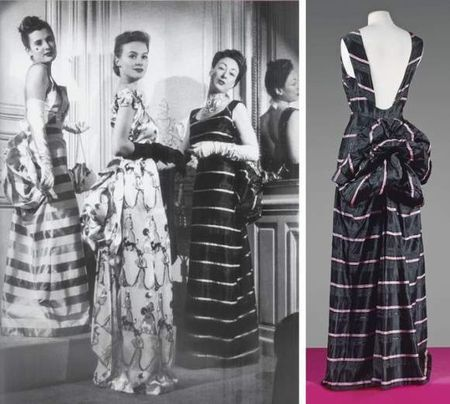 SCHIAPARELLI, haute couture, No. 67695, Summer 1939 Evening Gown  consisting of two rooms and effect of horizontal black stripes, pink silk pékiné and moiré, high round neckline supported by wide straps on a bare back, mounted on a crepe skirt, flowing long skirt with back flared a few hidden under folds a turn in three movements. (Slight wear the armholes). . Claw white, black graphics Estimation: