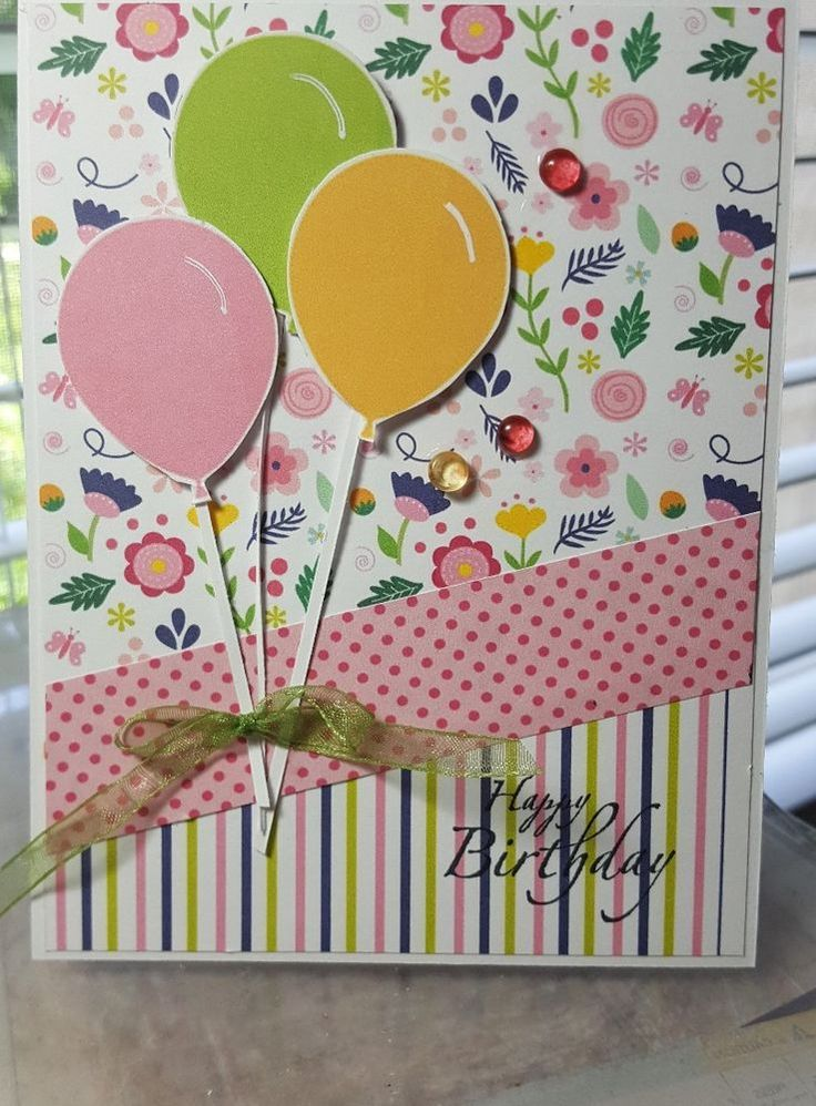 Happy Birthday Balloons Handmade Greeting Card Free Shipping | Crafts, Handcrafted & Finished Pieces, Greeting Cards & Gift Tags | eBay!