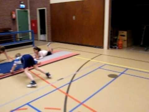 Circuit met allerlei oefeningen: sprinten, mat aantikken, bank springen, vanuit ruglig benen links en rechts verplaatsen, zwaaien aan de ringen over mat, touwtje springen, vanuit ruglig met gestrekte knieën rek aantikken.