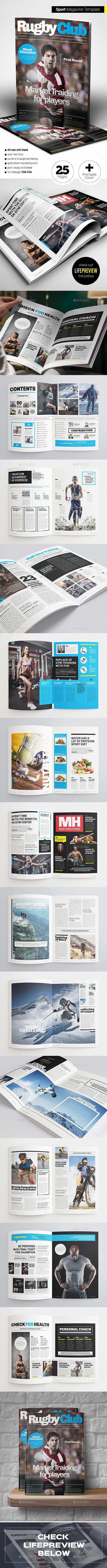 Sport Magazine — InDesign INDD #creative #sport targeted • Available here → https://graphicriver.net/item/sport-magazine/13883213?ref=pxcr