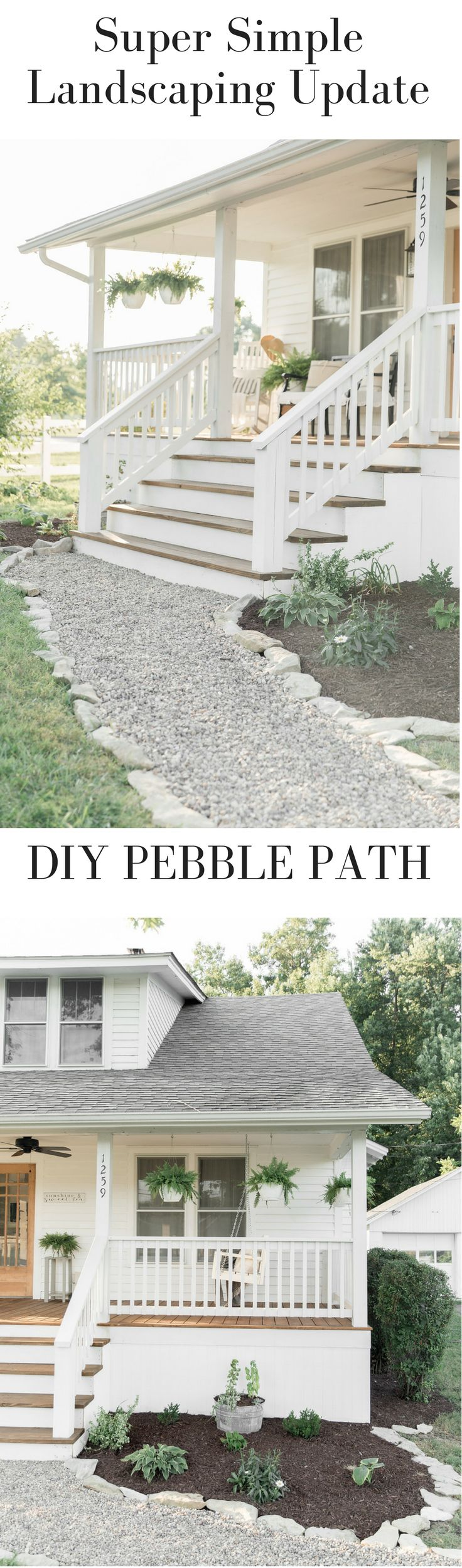 Simple landscaping ideas farmhouse style DIY gravel path