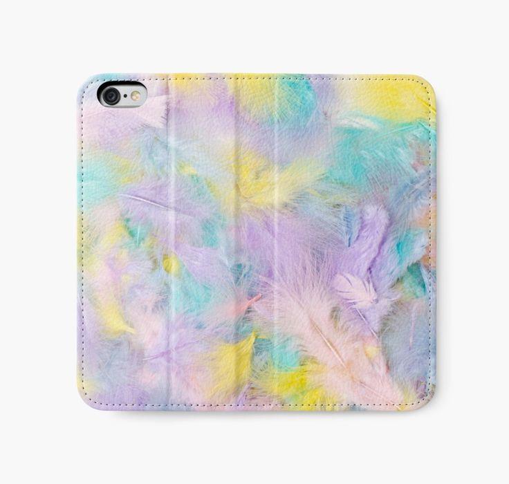 iPhone Wallet. #feathers #pastelfeathers #feather #featherat #birdfeathers #avianfeathers #feathercloseup #easter #eastercolors #sandrafoster #sandrafosterredbubble