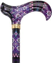 Pretty Purple Designer Adjustable Derby Walking Cane with Engraved Collar