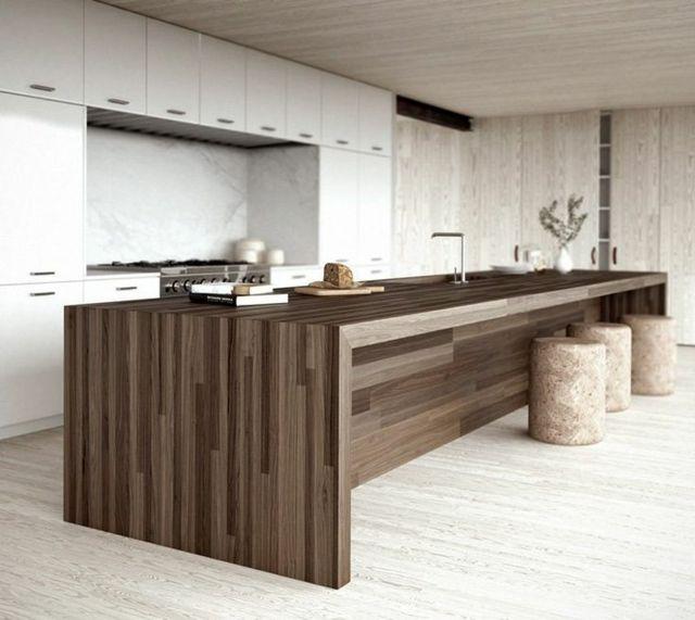 Cuisine blanche minimaliste avec ilot central en bois