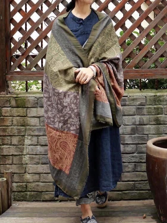 ef7383f784fb6 Vintage pattern comfortable cotton ethnic style big scarf shawl in ...