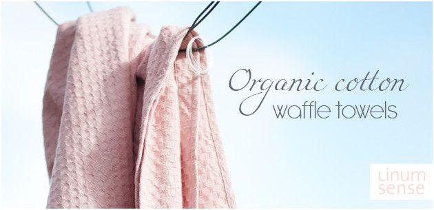 Organic cotton waffle towels from Eco brand Linum.