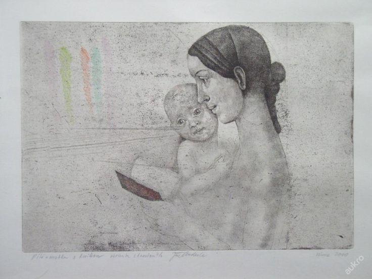 http://aukro.cz/anderle-jiri-dite-a-matka-1-1-kresba-i4866544188.html DÍTĚ A MATKA S KNIHOU - VARIANTA S KRESBOU, 2000, Suchá jehla a Kresba tisková plocha 28 x 20 cm
