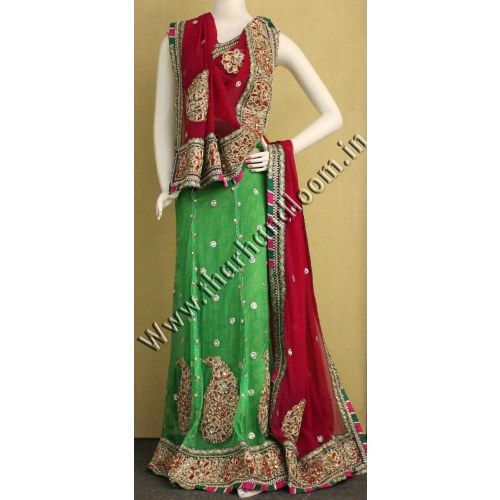 Green Traditional lehenga - Online Shopping for Lehnga by Thar Handloom