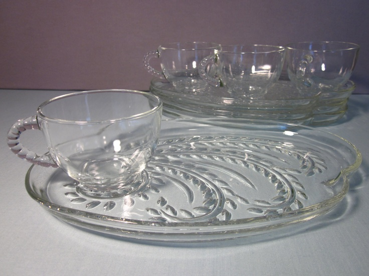 Vintage snack plate and cup set piece federal glass
