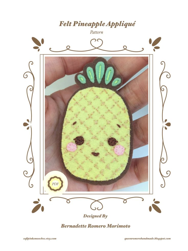 PDF Pattern/ Felt Pineapple Applique/Patch/ Handmade Felt Patch/Kawaii Fruit Patch/Fruit Applique by softpinksmooches on Etsy