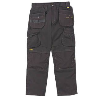 Dewalt Pro Heavyweight Canvas Work Trousers Black. Canvas trousers with top-loading knee pad pockets. 315g/m². Knee pads available separately (Code 33498). http://www.MightGet.com/april-2017-1/dewalt-pro-heavyweight-canvas-work-trousers.asp