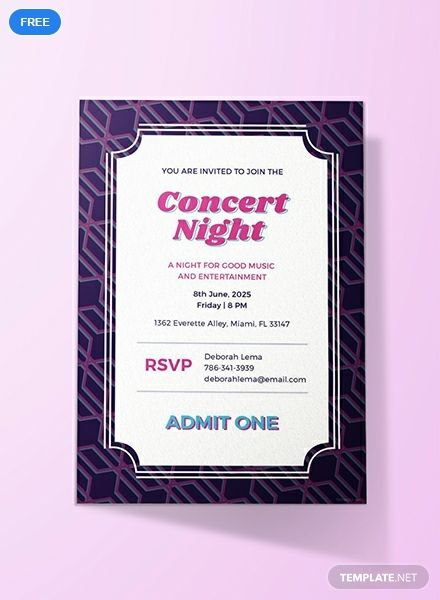 Free Concert Ticket Invitation Event Invitation card design Ideas