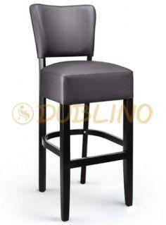 LT 7614 - Barová židle z bukového dřeva v barvě moření wenge s čalouněným sedem v kožence antracitové barvy.