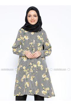 Çiçek Desenli Tunik - Siyah Sarı - Topless #modasto #giyim #moda https://modasto.com/topless/kadin/br18160ct2