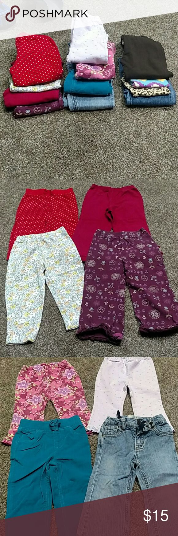 2T/24Month girls pants bundle 12 pieces Good used condition. Brands include Falls Creek Kids, Carter's, Baby LuLu, Children's Place, Jumping Beans and more Multiples Bottoms