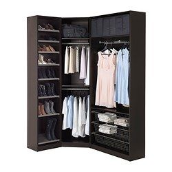 PAX Wardrobe, black-brown, Ballstad white - standard hinges - IKEA