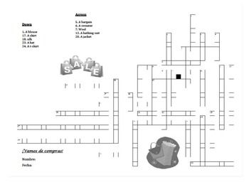 This crossword puzzle / crucigrama goes along with