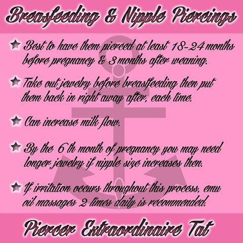 Breastfeeding & Nipple Piercings... I'm taking mine out if I have any issues at all, not worth the hassle :)