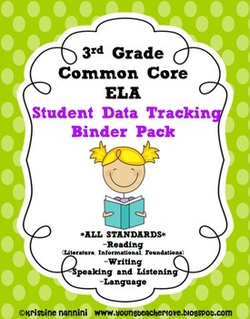3rd Grade Common Core: ELA Literacy *ALL STANDARDS* {Student Data Binder Pack)    YoungTeacherLove