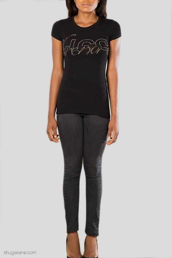 Lorenore Studded Tee Black. http://shugakane.com.ng/shop/lorenore/lorenore-studded-tee-black/
