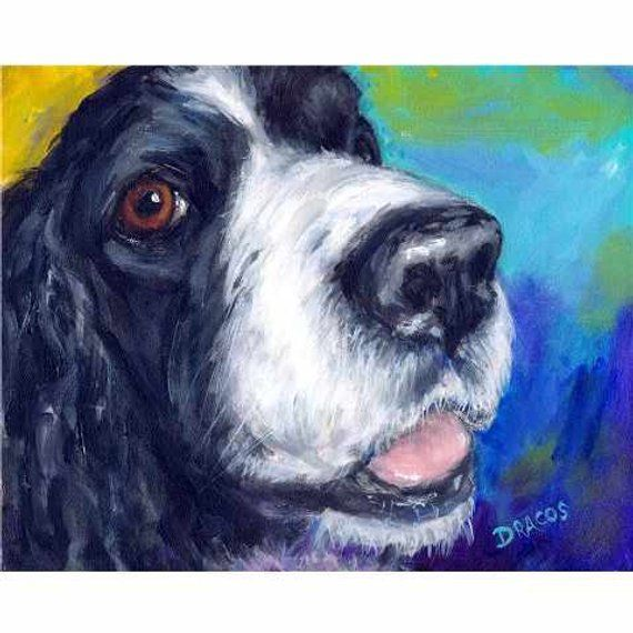 English Springer Spaniel Dog Art Print Of Original Painting By Dottie Dracos Spaniels Hunting Dogs In 2020 Dog Art Springer Spaniel Spaniel Dog
