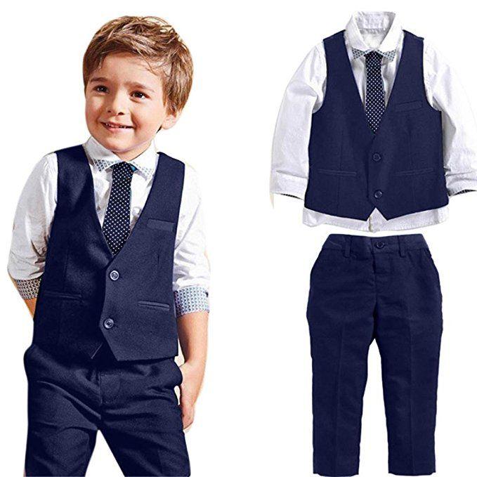 Tolles Kinder Outfit Fur Die Hochzeit In Blau Weiss Jungen Gentleman Hochzeitsanzug Bestehend Aus Hemd Weste Kleidung Fur Jungen Lange Hosen Kinder Anzug