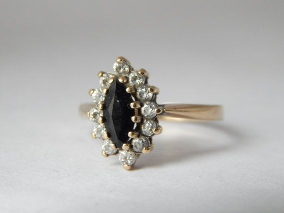 Vintage Engagement Ring – Sapphire and CZ Marquise Ring – Vintage Cluster Ring – Vintage Engagement Rings – CZ Engagement Ring – CZ Ring