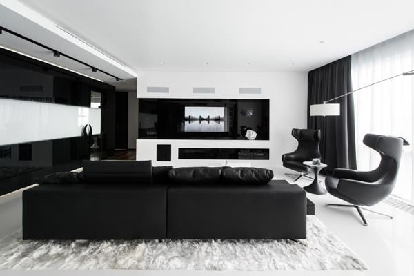 White And Black Cozy Living Room Design With Images Black