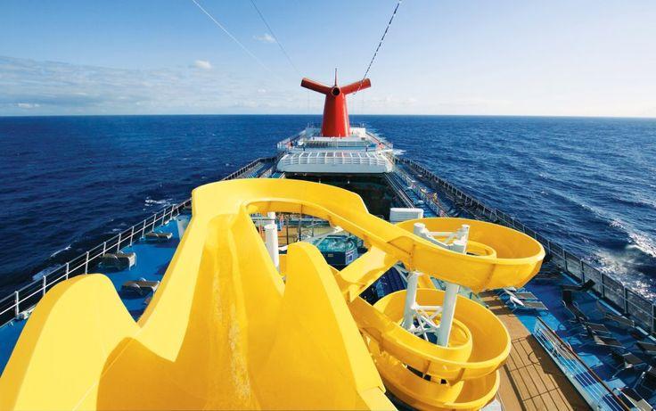 Carnival Spirit water slide. My honeymoon cruise ship.
