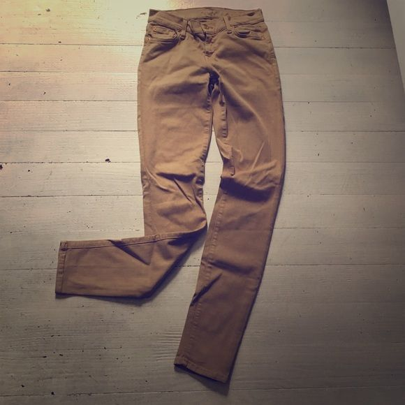 7 For All Mankind Skinny Khaki Jeans A couple years old but still look like new. Great for a business casual pant. Can be dressed up or dressed down. Super comfy/ stretchy! Just don't fit me anymore :( ****CAN GIVE YOU A CHEAPER PRICE ON Ⓜ️ERC**** 7 for all Mankind Jeans Skinny