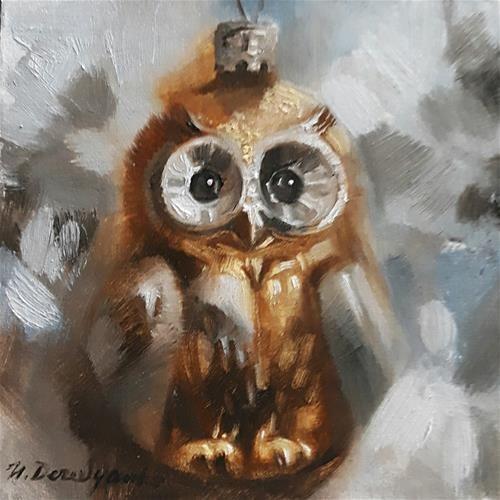 "Daily Paintworks - ""Owl"" - Original Fine Art for Sale - © Natali Derevyanko"