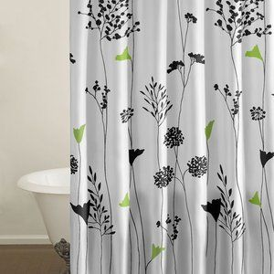 City Scene Asian Lily Shower Curtain. changed my mind about the purple with grey leaves bc it's too dark.thinking this for the upstairs bathroom to lighten it up :)