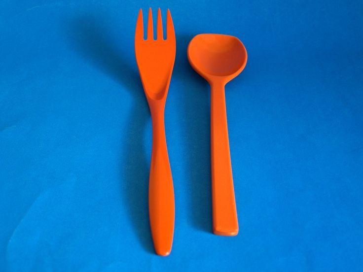 Rosti Funky Orange Danish Serving Fork & Spoon - 70s Vintage Retro Melamine Mepal Serving Utensils - Denmark - Funky Kitchen by FunkyKoala on Etsy