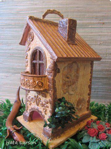 Поделка изделие Моделирование конструирование Чайный домик 2 или дежавю Бумага Картон Клей Краска Ракушки Салфетки фото 1