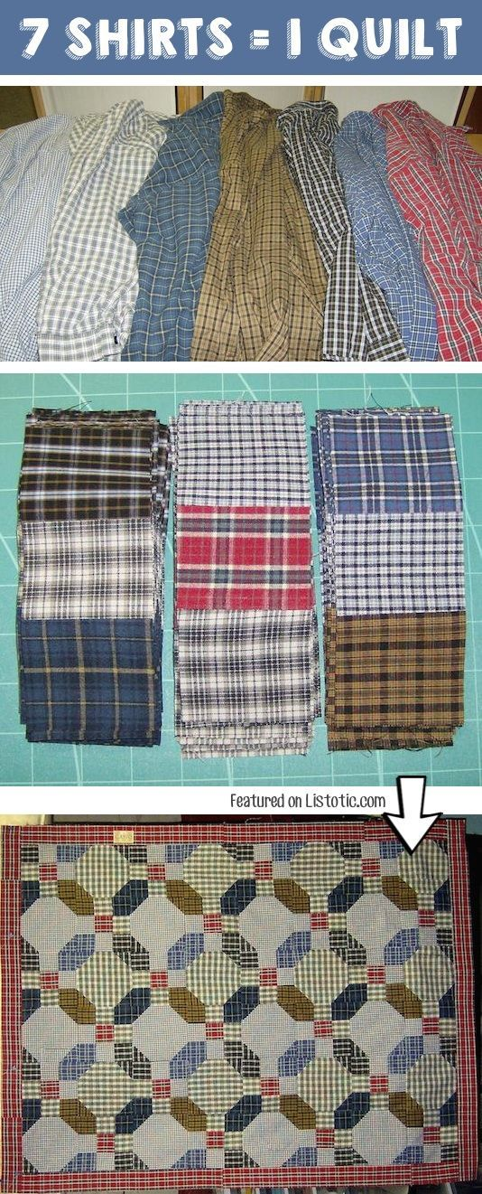 #4. Make a quilt out of old shirts! -- 25 Genius Craft Ideas                                                                                                                                                                                 More