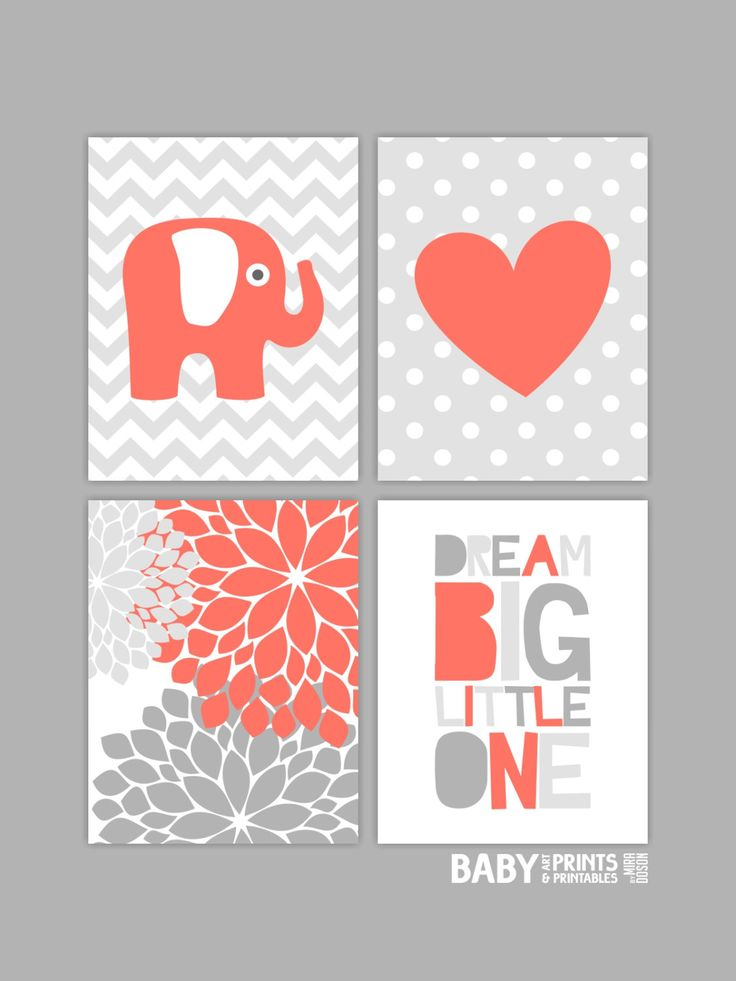 Coral nursery Baby Girl Nursery art prints Set of by babyartprints - or use different colors for a baby boy!
